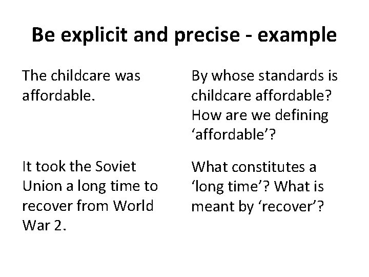 Be explicit and precise - example The childcare was affordable. By whose standards is