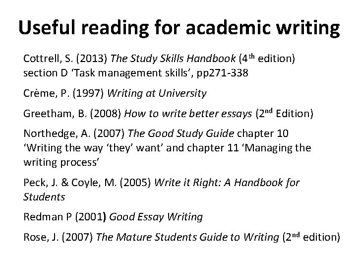 Useful reading for academic writing Cottrell, S. (2013) The Study Skills Handbook (4 th