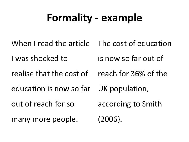 Formality - example When I read the article The cost of education I was