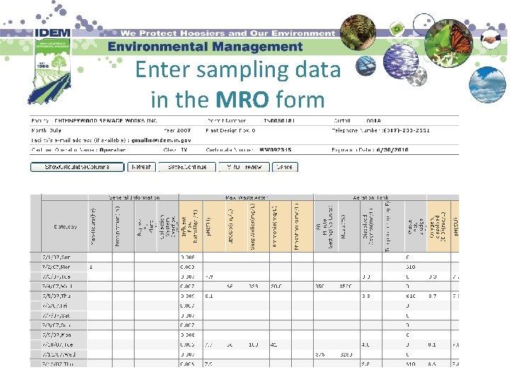 Enter sampling data in the MRO form