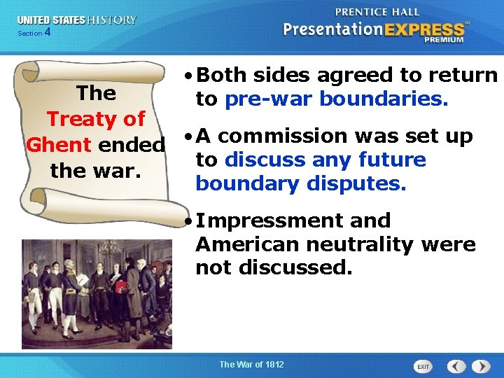 425 Section Chapter Section 1 • Both sides agreed to return to pre-war boundaries.