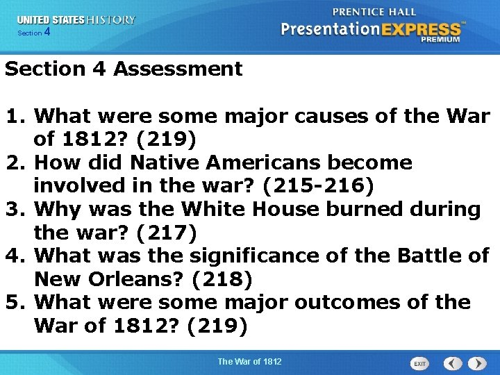425 Section Chapter Section 1 Section 4 Assessment 1. What were some major causes