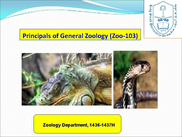 Principals of General Zoology (Zoo-103) Zoology Department, 1436 -1437 H