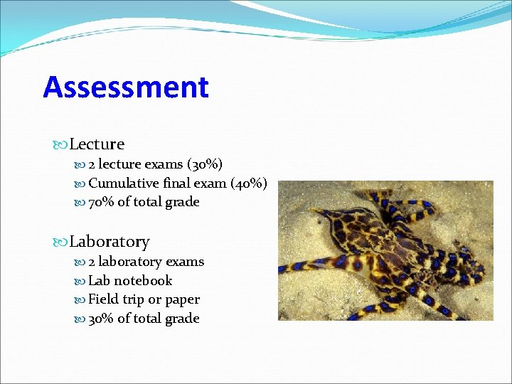 Assessment Lecture 2 lecture exams (30%) Cumulative final exam (40%) 70% of total grade