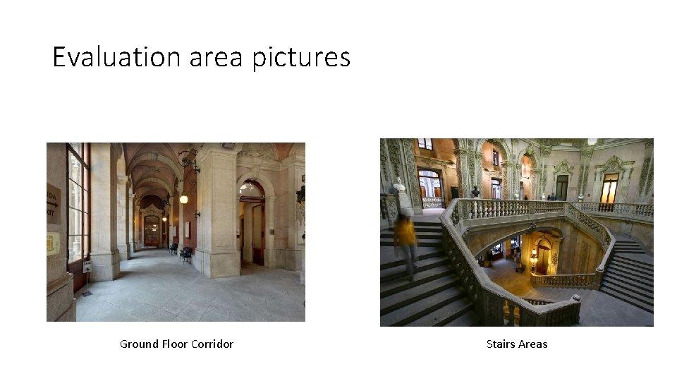 Evaluation area pictures Ground Floor Corridor Stairs Areas