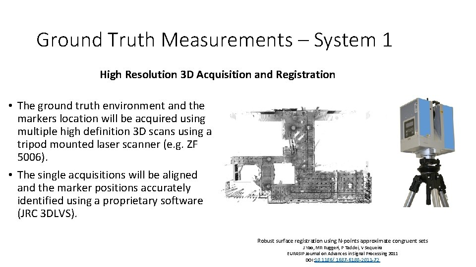 Ground Truth Measurements – System 1 High Resolution 3 D Acquisition and Registration •
