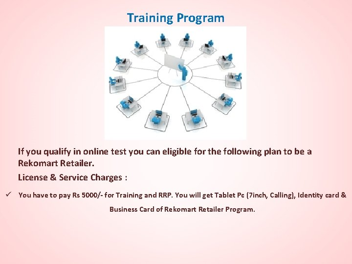Training Program If you qualify in online test you can eligible for the following
