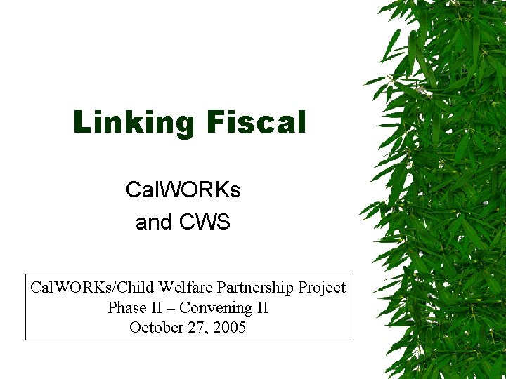 Linking Fiscal Cal. WORKs and CWS Cal. WORKs/Child Welfare Partnership Project Phase II –