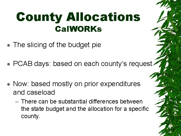 County Allocations Cal. WORKs The slicing of the budget pie PCAB days: based on