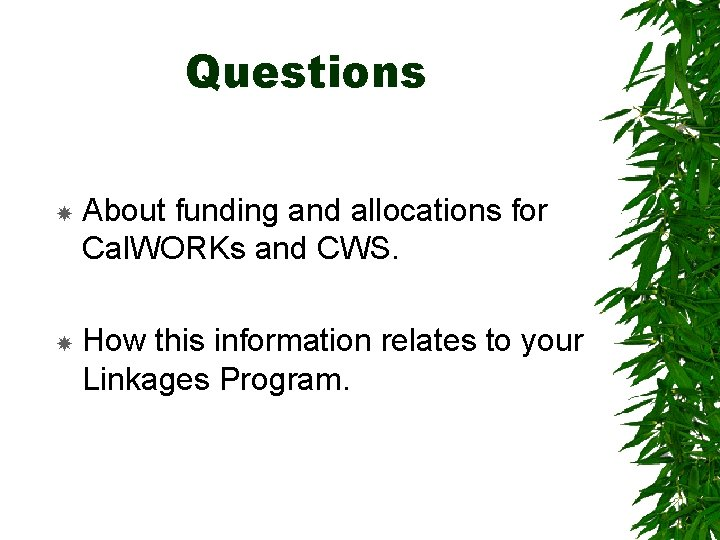Questions About funding and allocations for Cal. WORKs and CWS. How this information relates