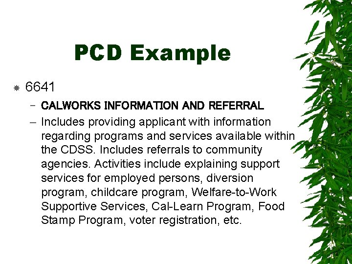 PCD Example 6641 – CALWORKS INFORMATION AND REFERRAL – Includes providing applicant with information