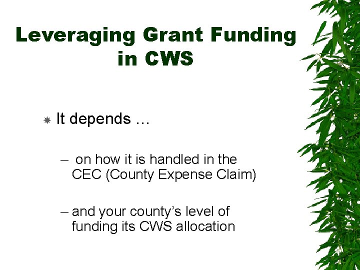 Leveraging Grant Funding in CWS It depends … – on how it is handled