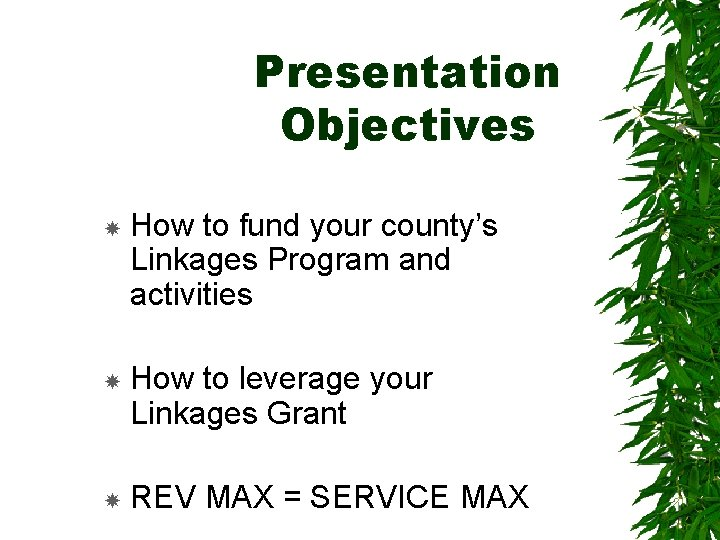 Presentation Objectives How to fund your county's Linkages Program and activities How to leverage