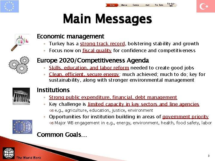 Intro Macro Comp Inst Tu: Sum TU-EUWB Main Messages Economic management ◦ Turkey has