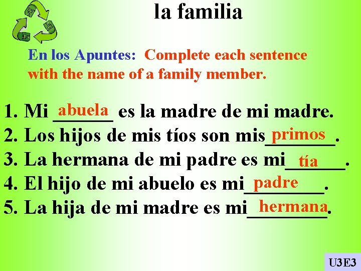 la familia En los Apuntes: Complete each sentence with the name of a family