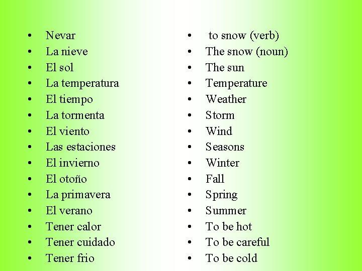 • • • • Nevar La nieve El sol La temperatura El tiempo