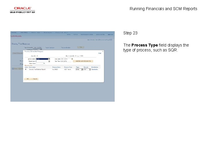 Running Financials and SCM Reports Step 23 The Process Type field displays the type