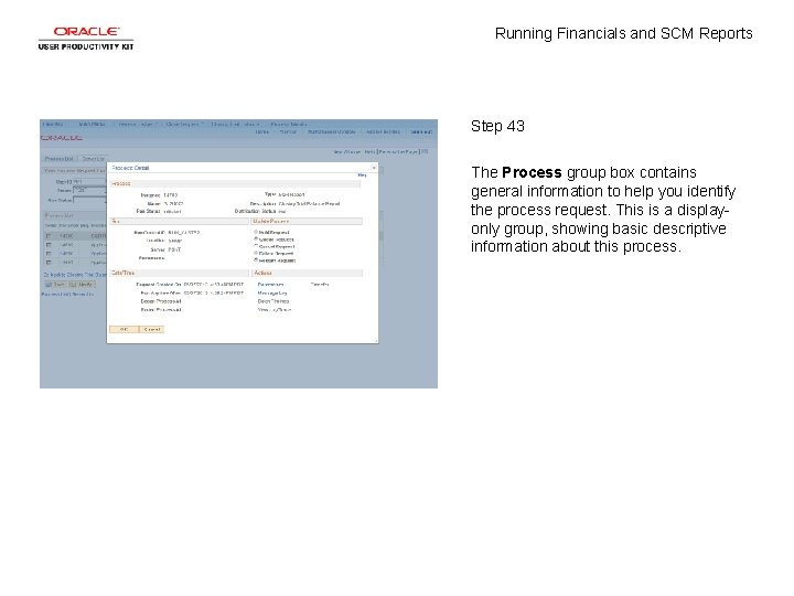 Running Financials and SCM Reports Step 43 The Process group box contains general information