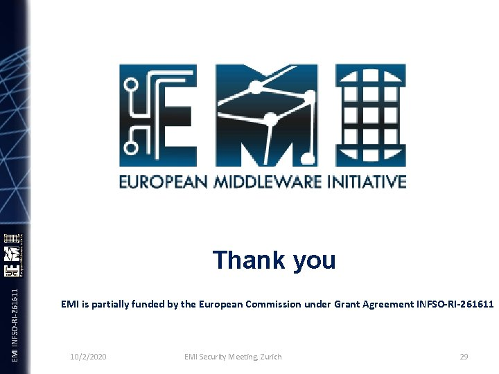 EMI INFSO-RI-261611 Thank you EMI is partially funded by the European Commission under Grant