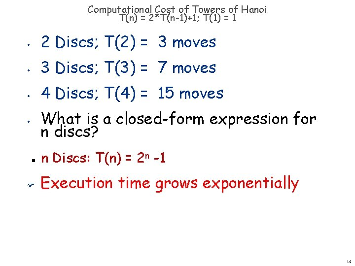 Computational Cost of Towers of Hanoi T(n) = 2*T(n-1)+1; T(1) = 1 • 2