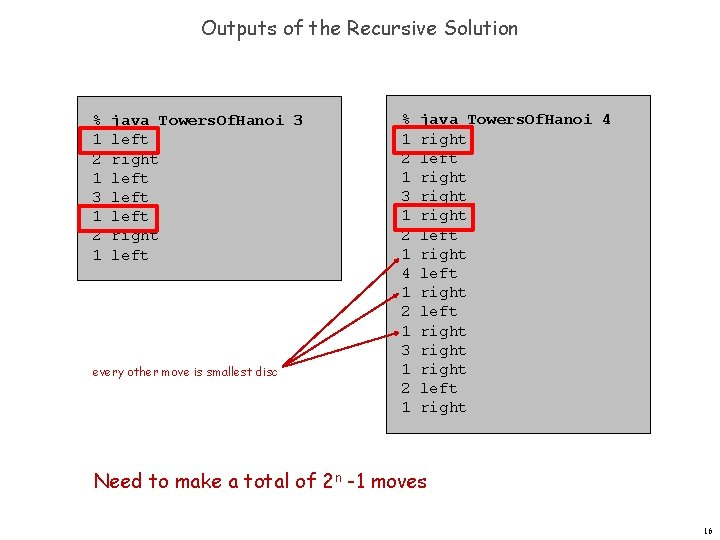 Outputs of the Recursive Solution % 1 2 1 3 1 2 1 java