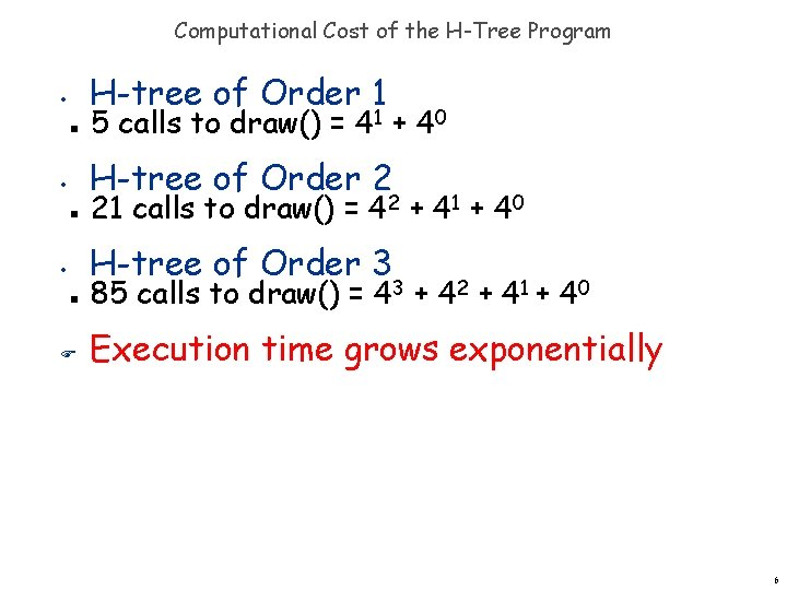 Computational Cost of the H-Tree Program H-tree of Order 1 • n 5 calls