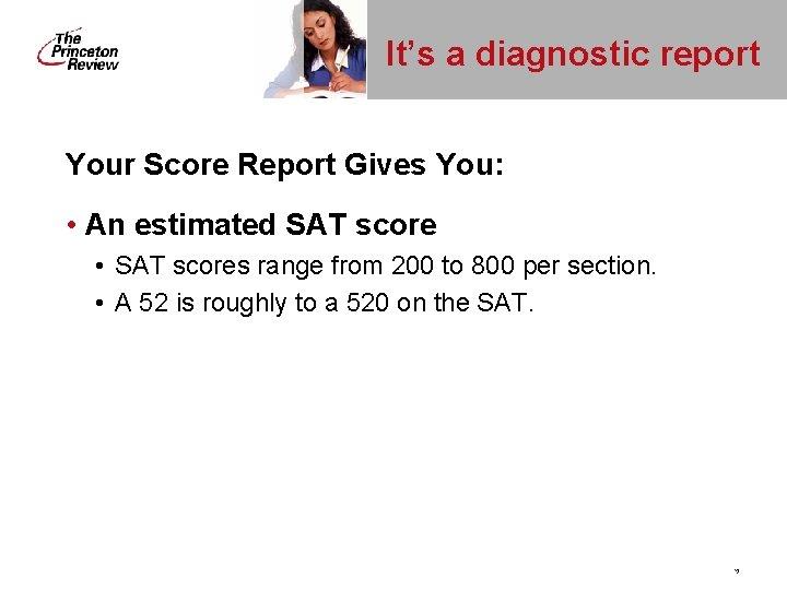 It's a diagnostic report Your Score Report Gives You: • An estimated SAT score