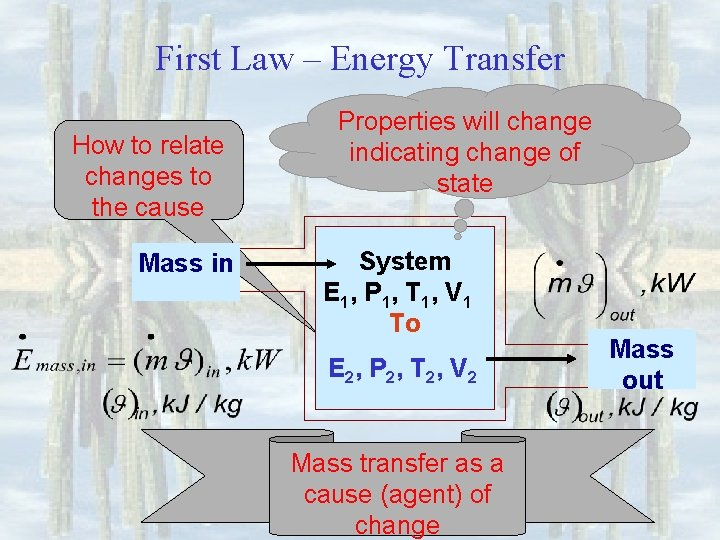 First Law – Energy Transfer How to relate changes to the cause Mass in