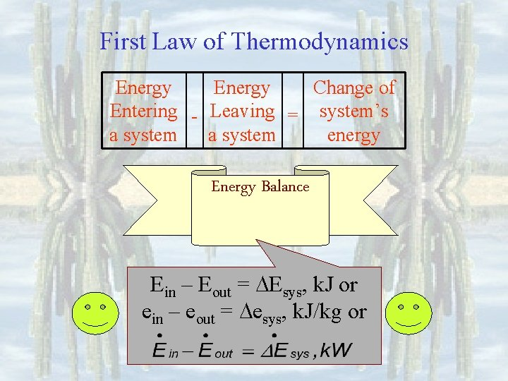 First Law of Thermodynamics Energy Change of Entering - Leaving = system's a system
