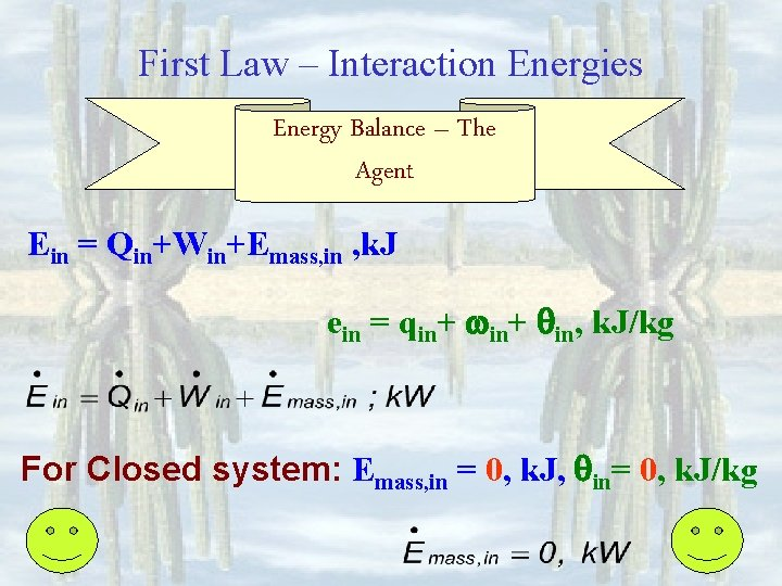 First Law – Interaction Energies Energy Balance – The Agent Ein = Qin+Win+Emass, in