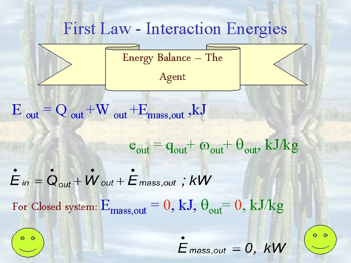First Law - Interaction Energies Energy Balance – The Agent E out = Q