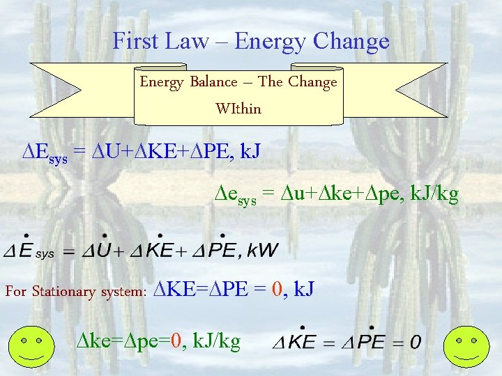 First Law – Energy Change Energy Balance – The Change WIthin Esys = U+