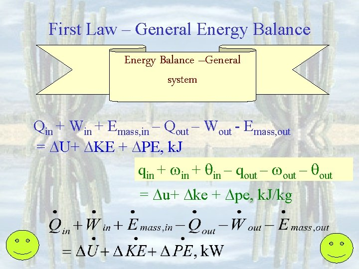 First Law – General Energy Balance –General system Qin + Win + Emass, in