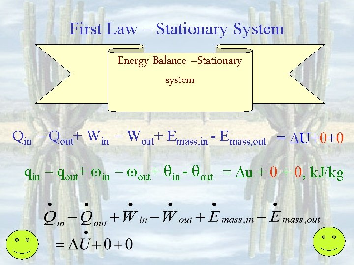 First Law – Stationary System Energy Balance –Stationary system Qin – Qout+ Win –