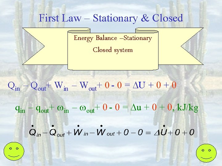 First Law – Stationary & Closed Energy Balance –Stationary Closed system Qin – Qout+