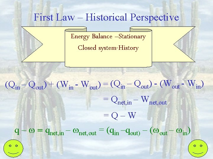 First Law – Historical Perspective Energy Balance –Stationary Closed system-History (Qin – Qout) +