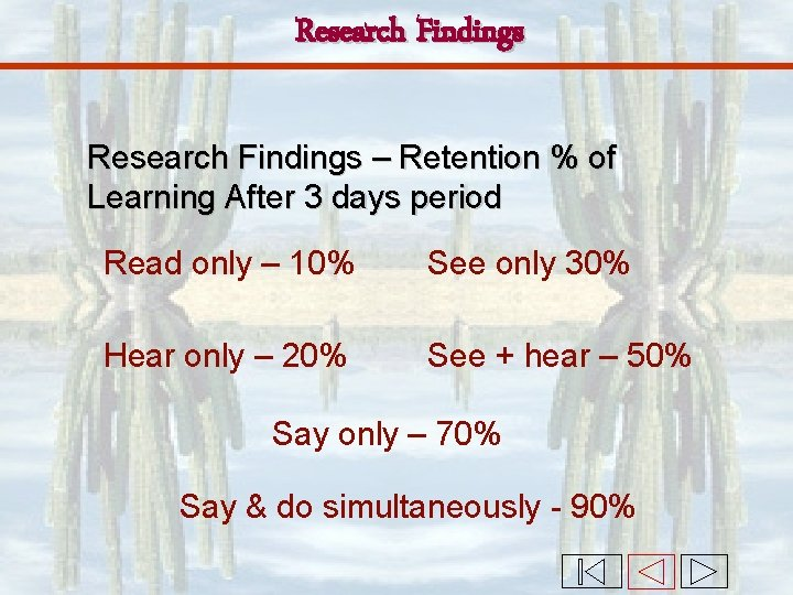 Research Findings – Retention % of Learning After 3 days period Read only –