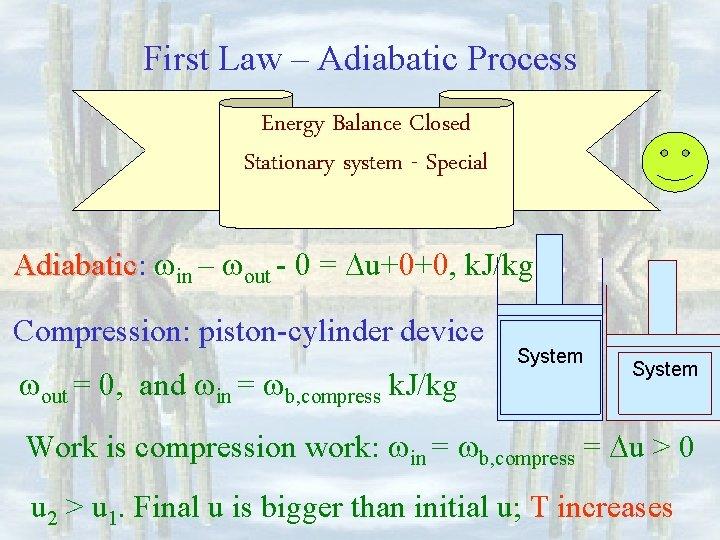 First Law – Adiabatic Process Energy Balance Closed Stationary system - Special Adiabatic: Adiabatic