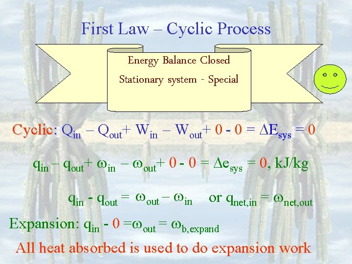 First Law – Cyclic Process Energy Balance Closed Stationary system - Special Cyclic: Cyclic