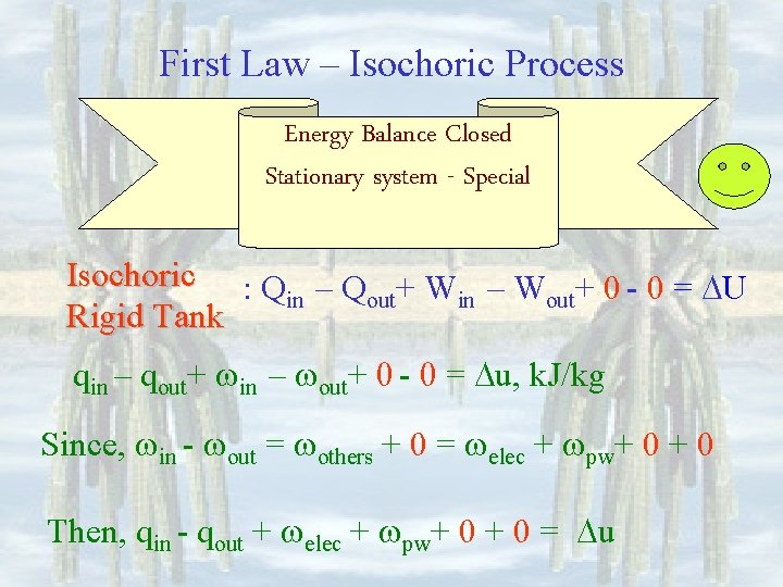 First Law – Isochoric Process Energy Balance Closed Stationary system - Special Isochoric :