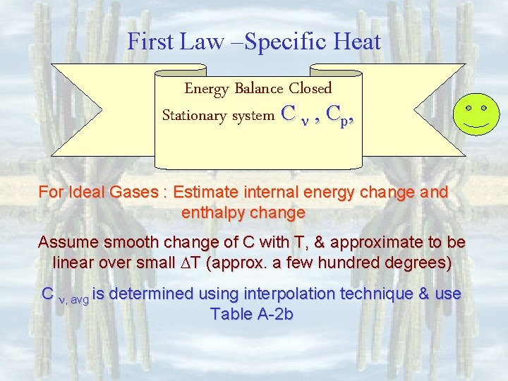 First Law –Specific Heat Energy Balance Closed Stationary system C , Cp, For Ideal