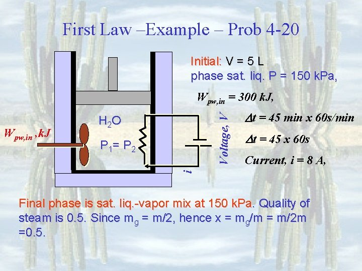 First Law –Example – Prob 4 -20 Initial: V = 5 L phase sat.