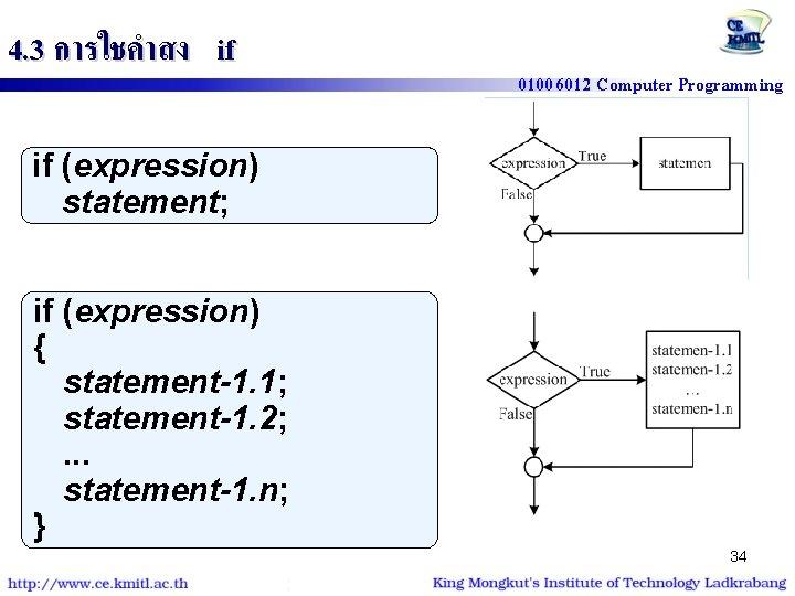 4. 3 การใชคำสง if 01006012 Computer Programming if (expression) statement; if (expression) { statement-1.