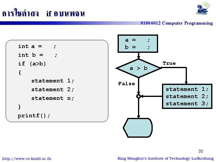 การใชคำสง if กบนพจน int a = ; int b = ; if (a>b) {