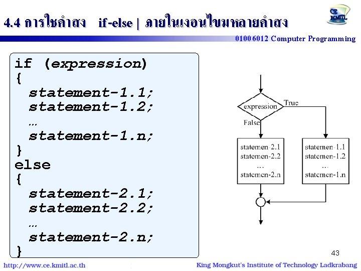 4. 4 การใชคำสง if -else | ภายในเงอนไขมหลายคำสง 01006012 Computer Programming if (expression) { statement-1.
