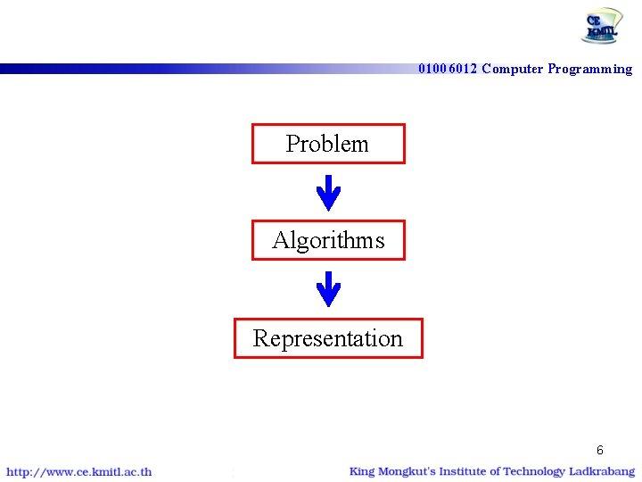 01006012 Computer Programming Problem Algorithms Representation 6