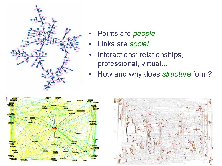 • Points are people • Links are social • Interactions: relationships, professional, virtual…