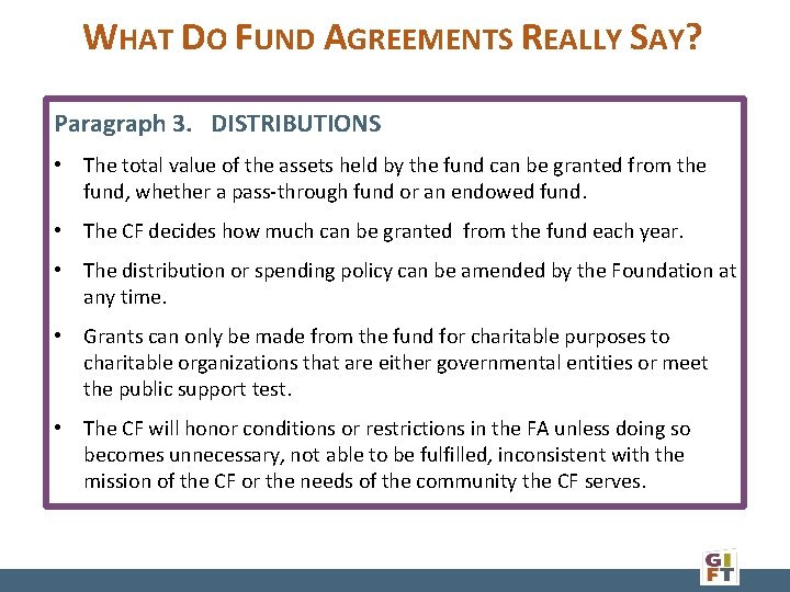WHAT DO FUND AGREEMENTS REALLY SAY? Paragraph 3. DISTRIBUTIONS • The total value of