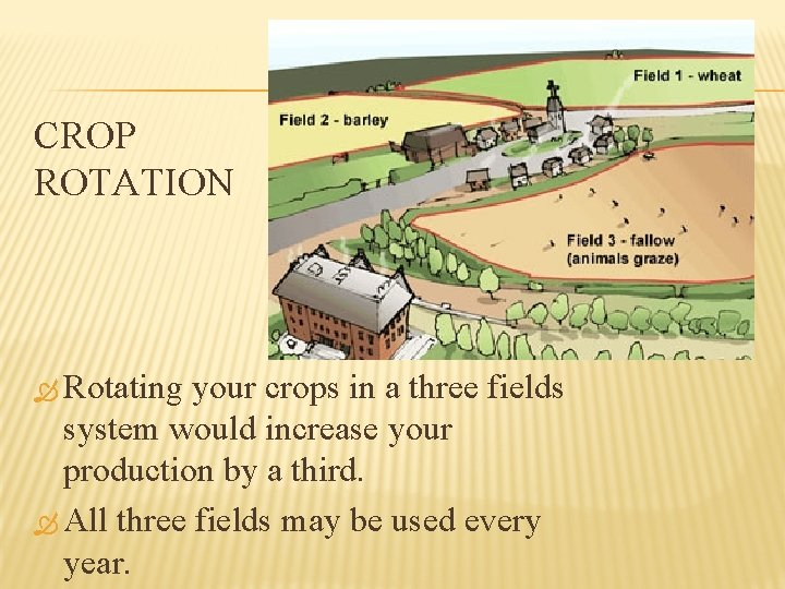 CROP ROTATION Rotating your crops in a three fields system would increase your production
