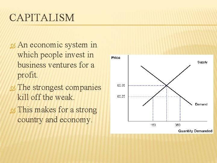 CAPITALISM An economic system in which people invest in business ventures for a profit.